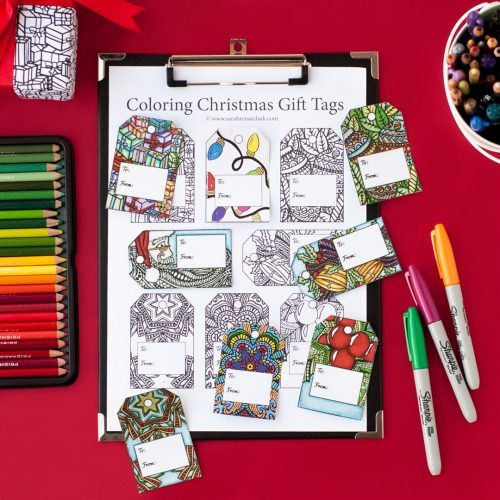 DIY Christmas gift tags – 8 printable coloring tags | Find more Christmas printable activities and coloring pages at www.sarahrenaeclark.com/christmas