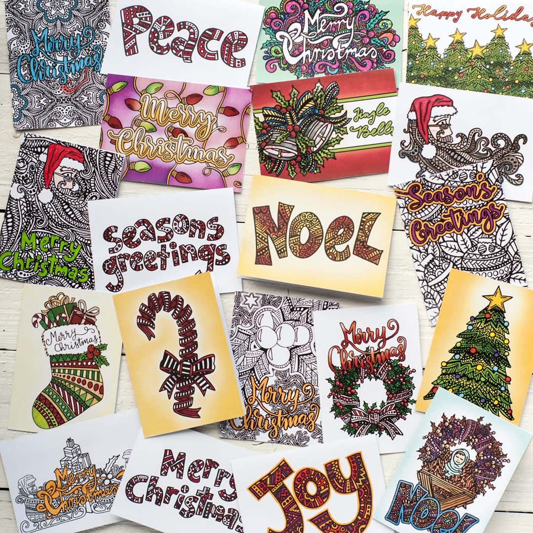 DIY Christmas cards – 20 Printable coloring templates | Find more Christmas printable activities and coloring pages at www.sarahrenaeclark.com/christmas