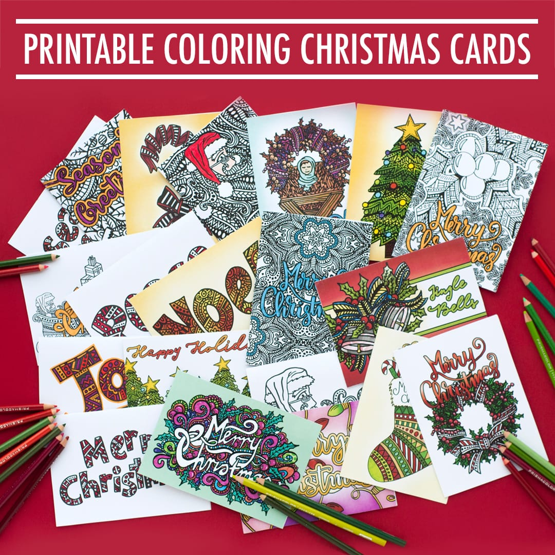 These printable Christmas cards are fun to color in and a great way to personalize your Christmas gift! Includes 20 printable cards to color in | Find more printables and coloring pages at https://sarahrenaeclark.com/christmas
