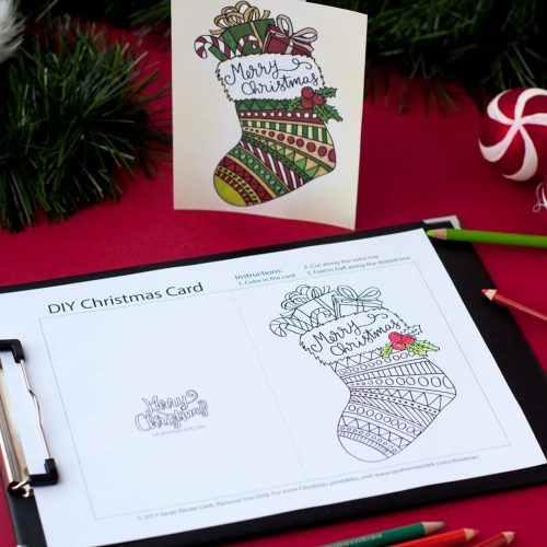 DIY Christmas cards – 20 Printable coloring templates| Find more Christmas printable activities and coloring pages at www.sarahrenaeclark.com/christmas