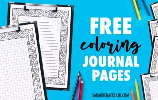 Get these FREE printable journal pages that you can color in! It comes in 4 formats, including a grid (for bullet journal lovers!), small lines, big lines and a blank version. | Find more free coloring pages, printable planners and calendars to color and organize everything at www.sarahrenaeclark.com | #bulletjournal #printables #plannerlove #freeprintable