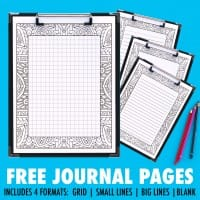 Get these FREE printable journal pages that you can color in! It comes in 4 formats, including a grid (for bullet journal lovers!), small lines, big lines and a blank version.   Find more free coloring pages, printable planners and calendars to color and organize everything at www.sarahrenaeclark.com   #bulletjournal #printables #plannerlove #freeprintable