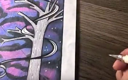 How to create a galaxy background with colored pencils | Step 10 | See the full galaxy tutorial at www.sarahrenaeclark.com