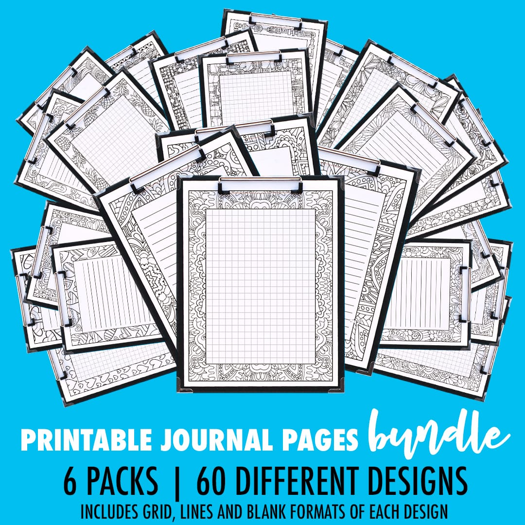 Wow… 60 different designs of printable journal pages, including a grid, small lines, big lines and a blank version of each page! | Find more printable planners and calendars to color and organize everything at www.sarahrenaeclark.com | #bulletjournal #printables #plannerlove