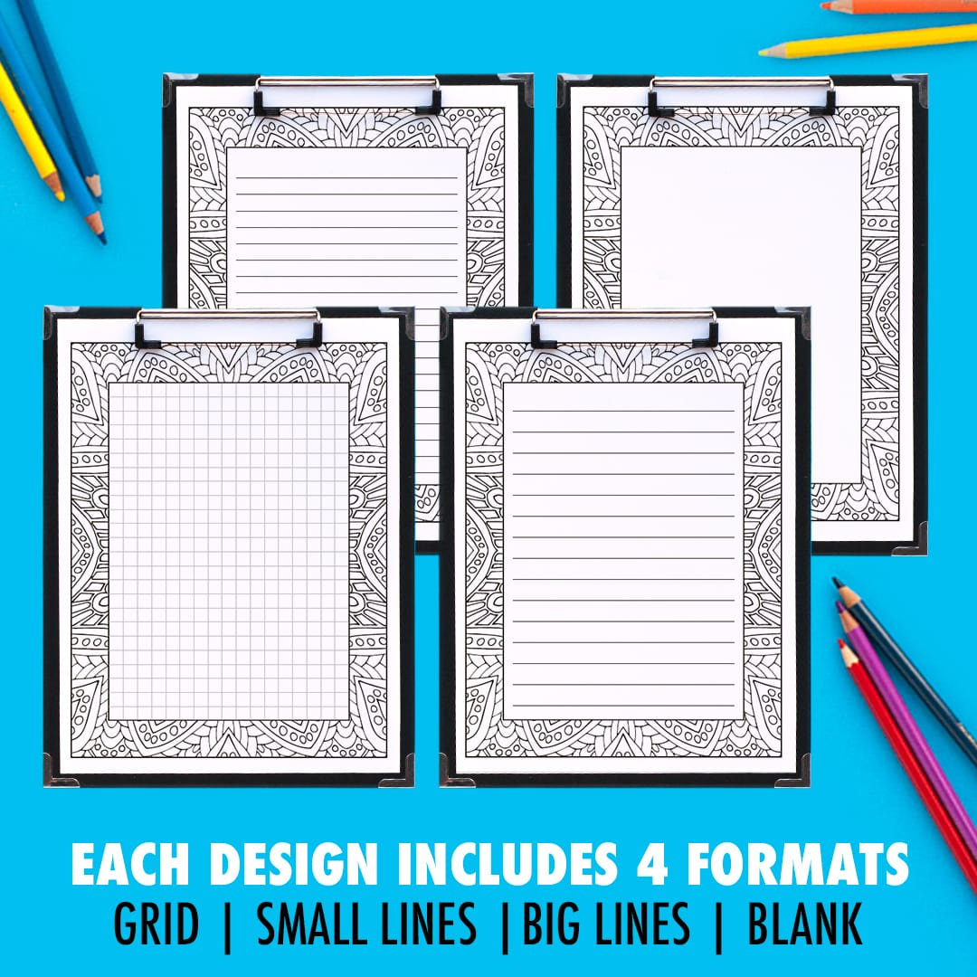 Printable journal pages that you can color in! This pack includes 10 different designs, with 4 formats for each journal page including a grid, small lines, big lines and a blank version. | Find more printable planners and calendars to color and organize everything at www.sarahrenaeclark.com | #bulletjournal #printables #plannerlove