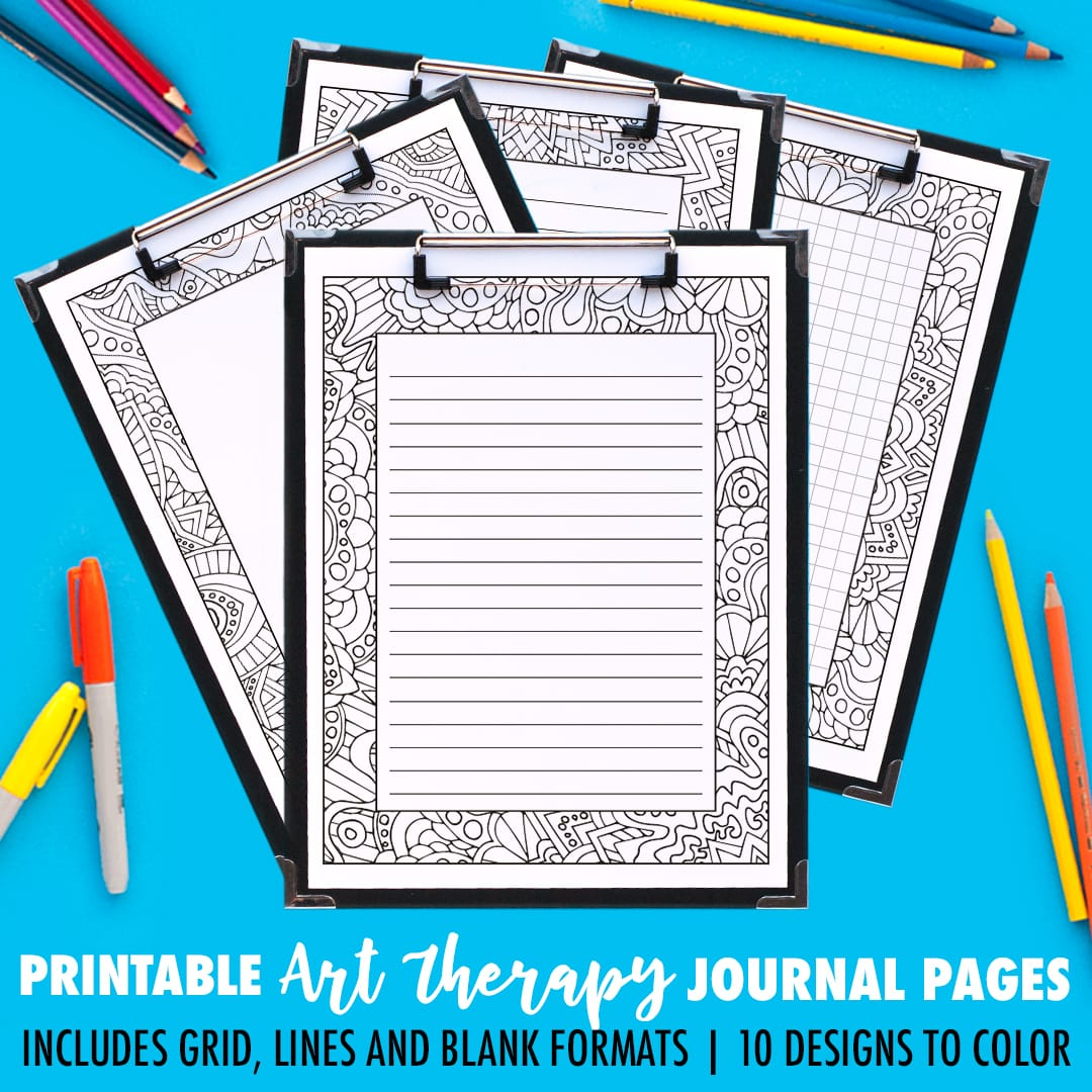 printable coloring journal pages art therapy series a 10 pack