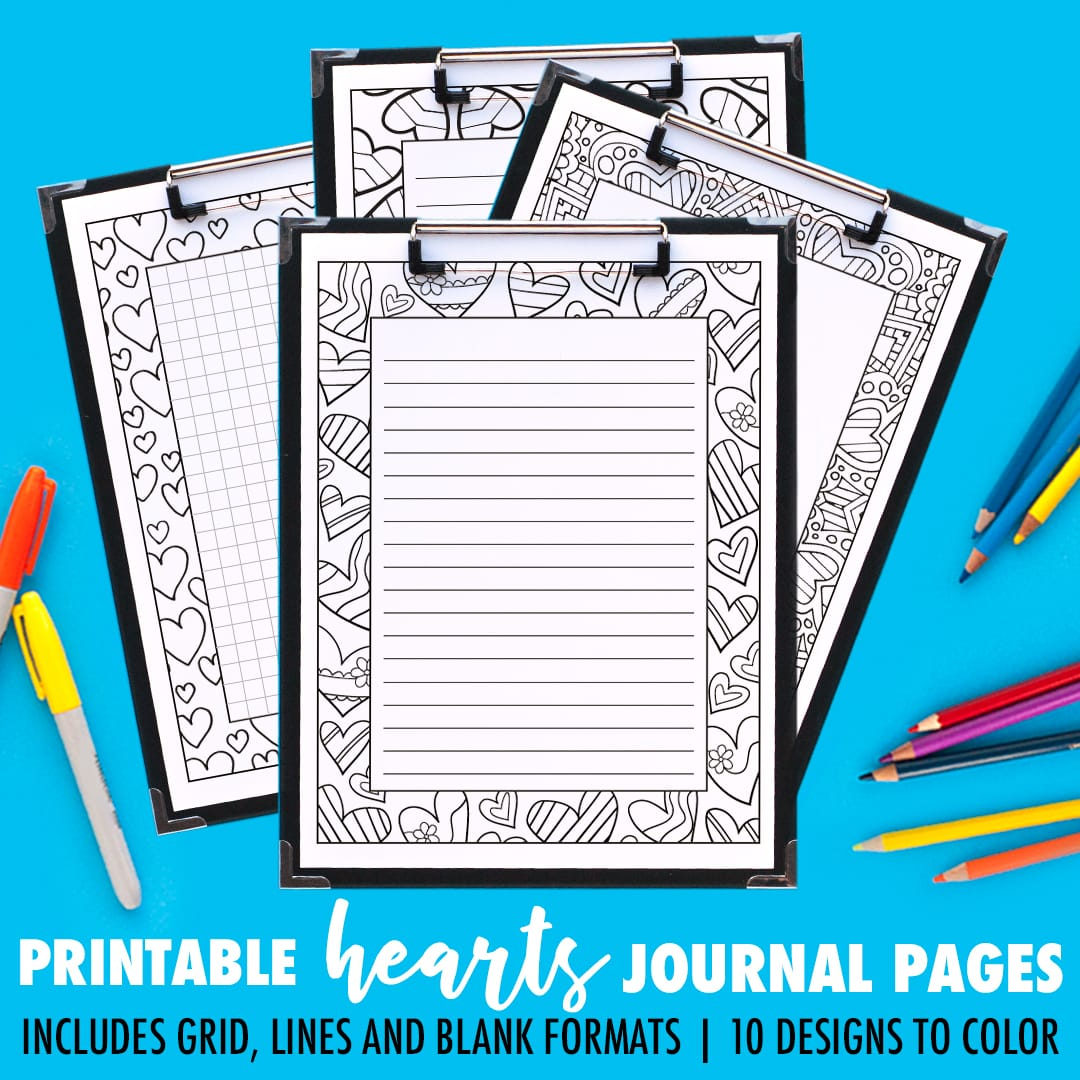 picture relating to Printable Journal Pages called Magazine Webpages Hearts Sequence 10 Pack