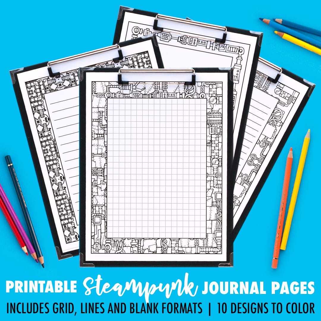 Ooh! Printable steampunk journal pages that you can color in! This pack includes 10 different designs, with 4 formats for each journal page including a grid, small lines, big lines and a blank version. | Find more printable planners and calendars to color and organize everything at www.sarahrenaeclark.com | #bulletjournal #printables #plannerlove