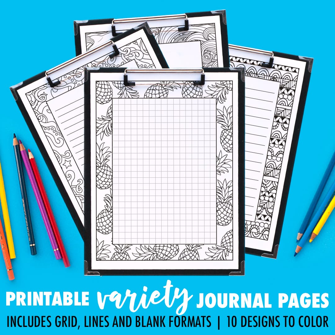 Ooh! Printable journal pages that you can color in! This pack includes 10 different designs, with 4 formats for each journal page including a grid, small lines, big lines and a blank version. | Find more printable planners and calendars to color and organize everything at www.sarahrenaeclark.com | #bulletjournal #printables #plannerlove