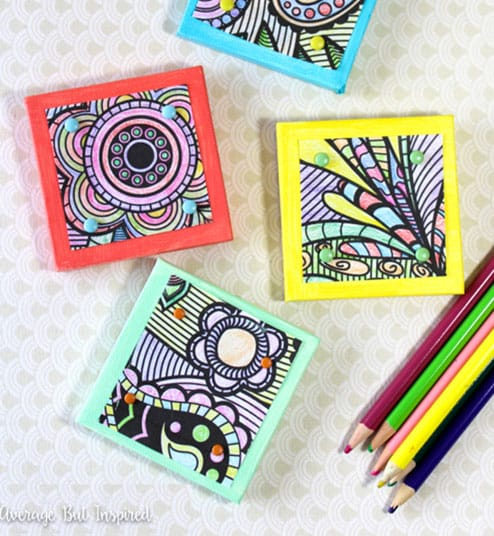 Turn your coloring pages into canvas magnets | Click to see all 29 creative ways to repurpose your coloring pages | #coloringpage #crafts www.sarahrenaeclark.com