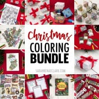 Save 50% on Christmas printables in this huge Christmas Coloring Bundle! It includes printable Christmas crackers, ornaments, bookmarks, coloring pages, gift tags, wrapping paper, gift boxes, Christmas cards and more!