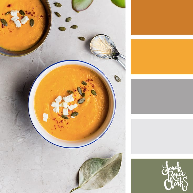 Warm winter soup // Winter Color Schemes // Click for more winter color combinations, mood boards and seasonal color palettes at http://sarahrenaeclark.com #color #colorscheme #colorinspiration