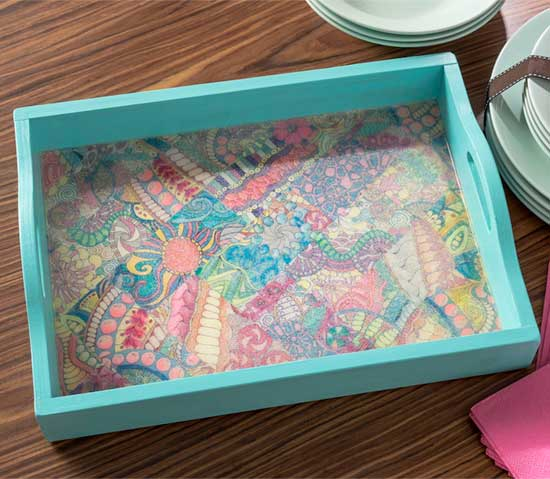 Decorate a tray with your adult coloring pages | Click to see all 29 creative ways to repurpose your coloring pages | #coloringpage #crafts www.sarahrenaeclark.com