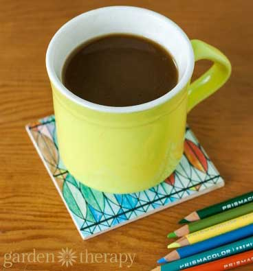 Make a coaster from a finished coloring page | Click to see all 29 creative ways to repurpose your coloring pages | #coloringpage #crafts www.sarahrenaeclark.com