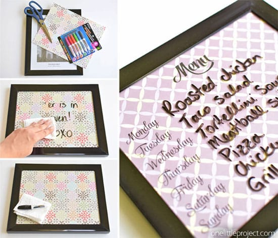 Use a coloring page to create a DIY dry erase board | Click to see all 29 creative ways to repurpose your coloring pages | #coloringpage #crafts www.sarahrenaeclark.com