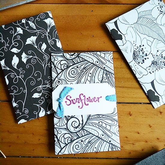 Make beautiful adult coloring seed packets