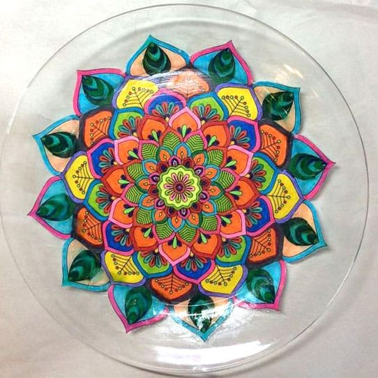 Turn a mandala coloring page into a plate | Click to see all 29 creative ways to repurpose your coloring pages | #coloringpage #crafts www.sarahrenaeclark.com
