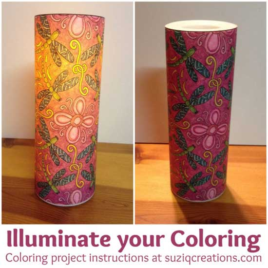 Turn a coloring page into a flickering candle light | Click to see all 29 creative ways to repurpose your coloring pages | #coloringpage #crafts www.sarahrenaeclark.com