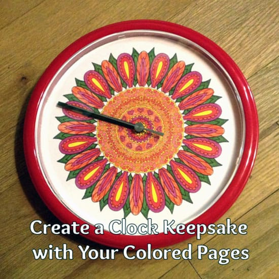 Upcycle a clock with your adult coloring pages | Click to see all 29 creative ways to repurpose your coloring pages | #coloringpage #crafts www.sarahrenaeclark.com