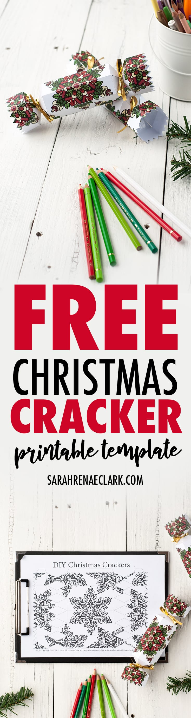 Get this FREE template to make your own Christmas crackers for a personalized DIY Christmas gift idea! Read more at sarahrenaeclark.com/christmas-cracker #christmascracker #free #christmas