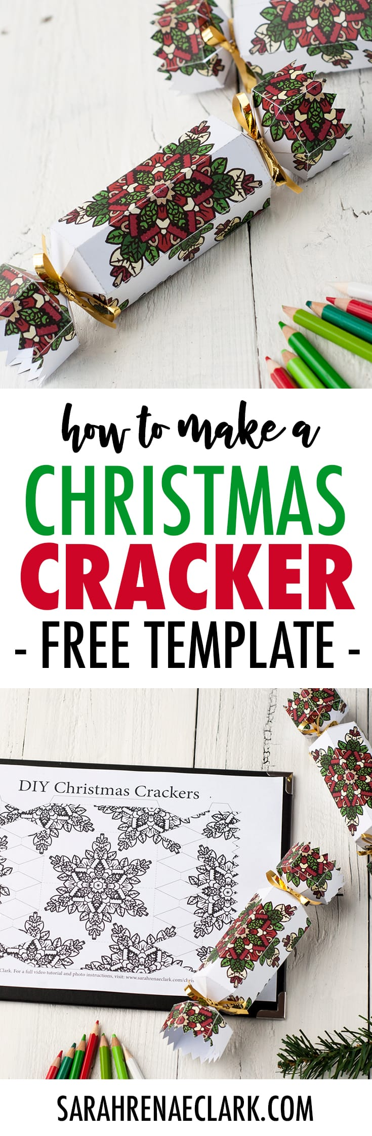 Learn how to make a DIY Christmas Cracker with this easy tutorial and free cracker template! www.sarahrenaeclark.com/christmas-cracker #christmas #printables #diychristmas #christmascracker