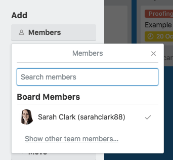 How to create a blog editorial calendar with Trello - adding members