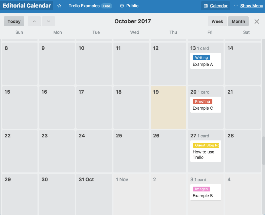 How to create a blog editorial calendar with Trello - calendar view