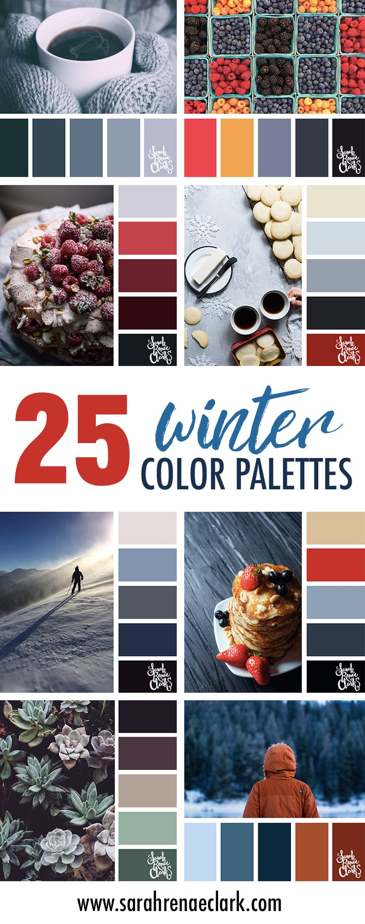 25 Winter Color Schemes | Click for more winter color combinations, mood boards and seasonal color palettes at http://sarahrenaeclark.com #color #colorscheme #colorinspiration