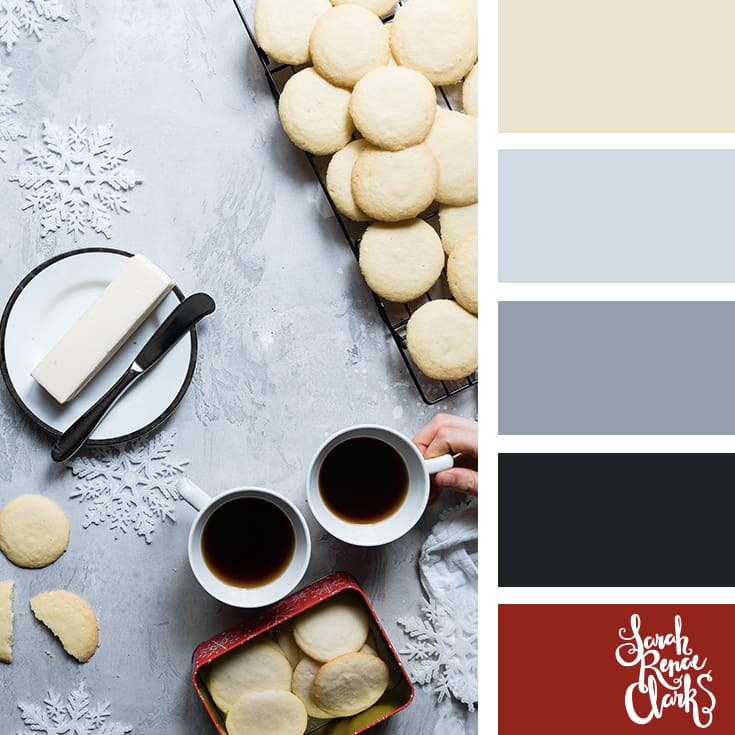 Shortbread color inspo // Christmas Color Schemes // Click for more Christmas color palettes, mood boards and color combinations at https://sarahrenaeclark.com #color #colorscheme #colorpalette
