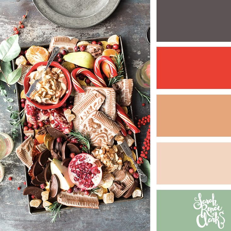 Gingerbread love // Christmas Color Schemes // Click for more Christmas color palettes, mood boards and color combinations at https://sarahrenaeclark.com #color #colorscheme #colorpalette