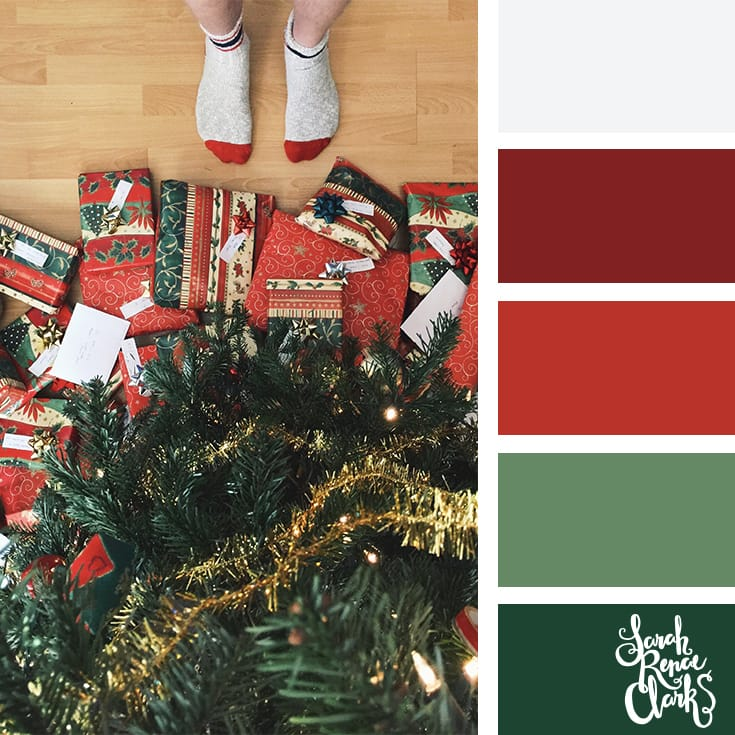 Christmas morning gifts // Christmas Color Schemes // Click for more Christmas color palettes, mood boards and color combinations at https://sarahrenaeclark.com #color #colorscheme #colorpalette