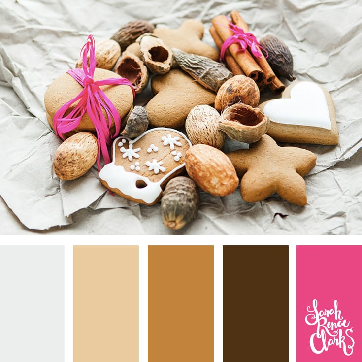 Gingerbread color inspiration // Christmas Color Schemes // Click for more Christmas color palettes, mood boards and color combinations at https://sarahrenaeclark.com #color #colorscheme #colorpalette
