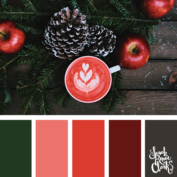 Red colors for Christmas // Christmas Color Schemes // Click for more Christmas color palettes, mood boards and color combinations at https://sarahrenaeclark.com #color #colorscheme #colorpalette