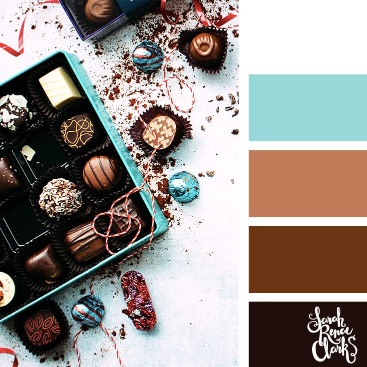 Chocolate colors // Christmas Color Schemes // Click for more Christmas color palettes, mood boards and color combinations at https://sarahrenaeclark.com #color #colorscheme #colorpalette