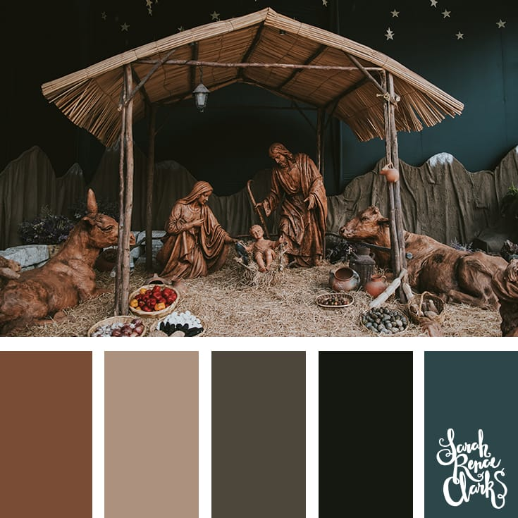 Nativity inspiration // Christmas Color Schemes // Click for more Christmas color palettes, mood boards and color combinations at https://sarahrenaeclark.com #color #colorscheme #colorpalette