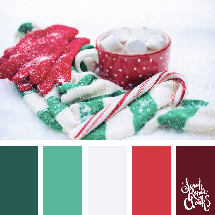 Sweet hues // Christmas Color Schemes // Click for more Christmas color palettes, mood boards and color combinations at https://sarahrenaeclark.com #color #colorscheme #colorpalette