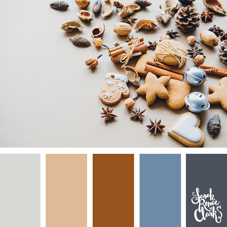 Gingerbread hues // Christmas Color Schemes // Click for more Christmas color palettes, mood boards and color combinations at https://sarahrenaeclark.com #color #colorscheme #colorpalette