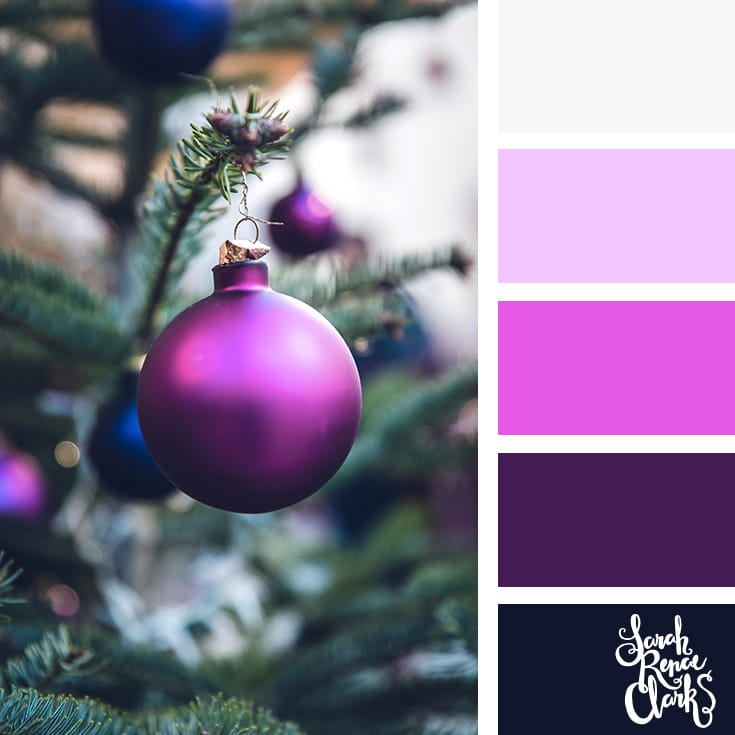 Purple Christmas color palette // Christmas Color Schemes // Click for more Christmas color palettes, mood boards and color combinations at https://sarahrenaeclark.com #color #colorscheme #colorpalette