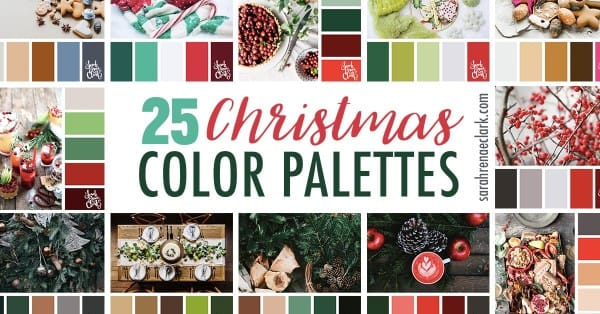 25 Christmas Color Palettes | Color schemes for all your Christmas craft projects! Click to see all 25 Christmas color palettes and other seasonal color inspiration at https://sarahrenaeclark.com #color #colorscheme #colorpalette