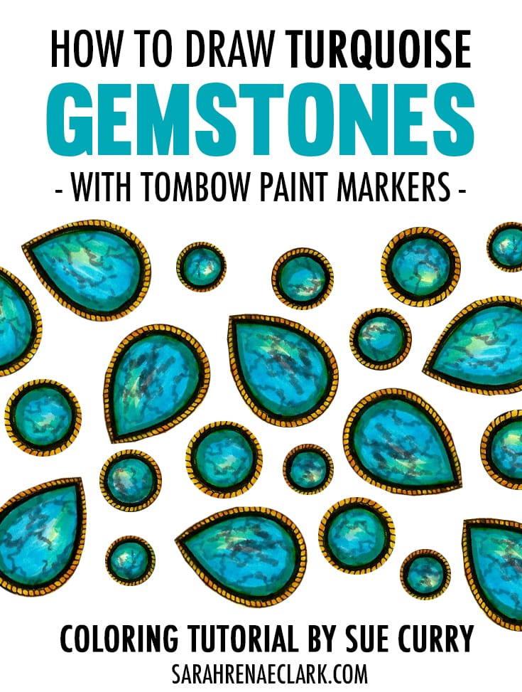 how to draw turquoise gemstones with tombow paint markers. Black Bedroom Furniture Sets. Home Design Ideas