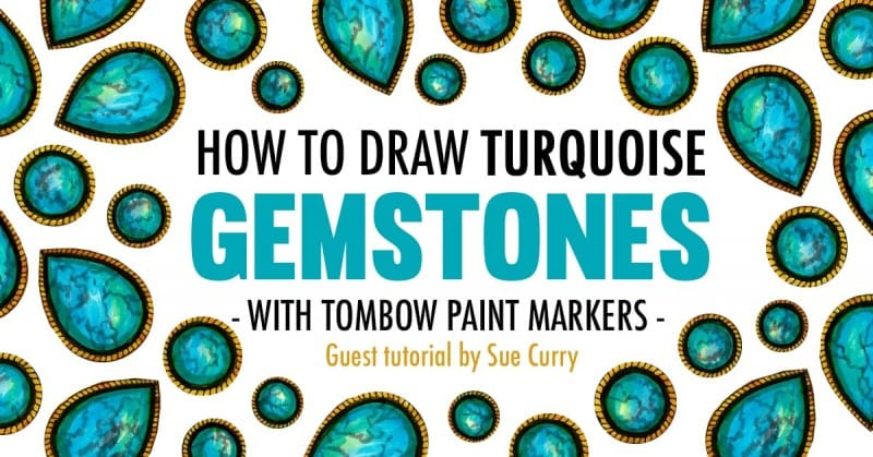 Gemstone adult coloring tutorial - Learn how to draw a turquoise gemstone with Tombow markers | Guest blog post at https://sarahrenaeclark.com #adultcoloring #coloringbook
