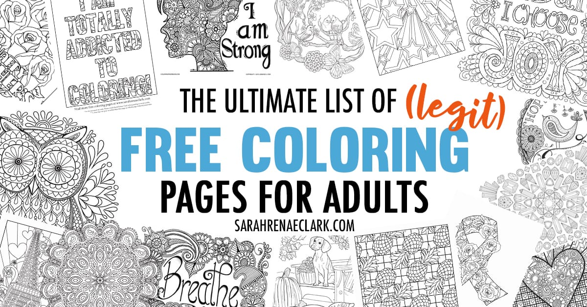 The Ultimate List Of (Legit) Free Coloring Pages For Adults Hundreds Of Free  Printables From 60+ Sources