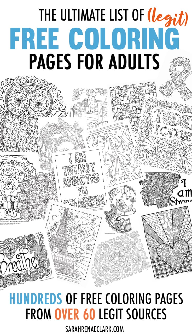 Hundreds of free adult coloring pages from over 60 legit sources - many direct from the artists! #adultcoloring #coloringpages #coloringforadults // https://sarahrenaeclark.com