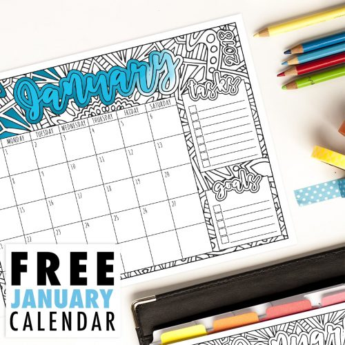 This free printable January calendar is perfect for the coloring book addict! Get organized and enjoy coloring each month. Get it at www.sarahrenaeclark.com // #calendar #printables