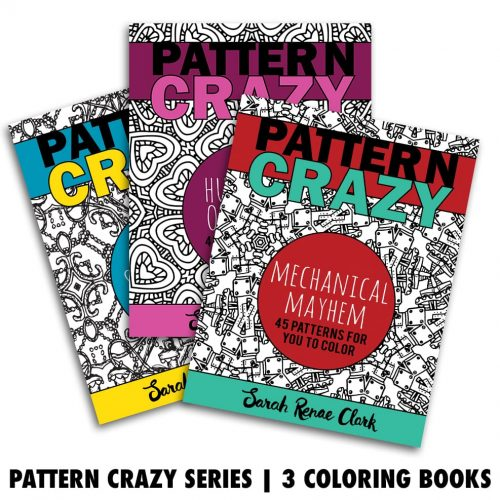 Get 3 coloring books in this Pattern Crazy series bundle | Printable adult coloring books to print at home and color in!