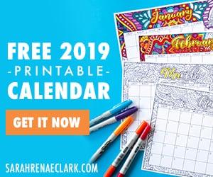 Get a free printable 2019 coloring calendar