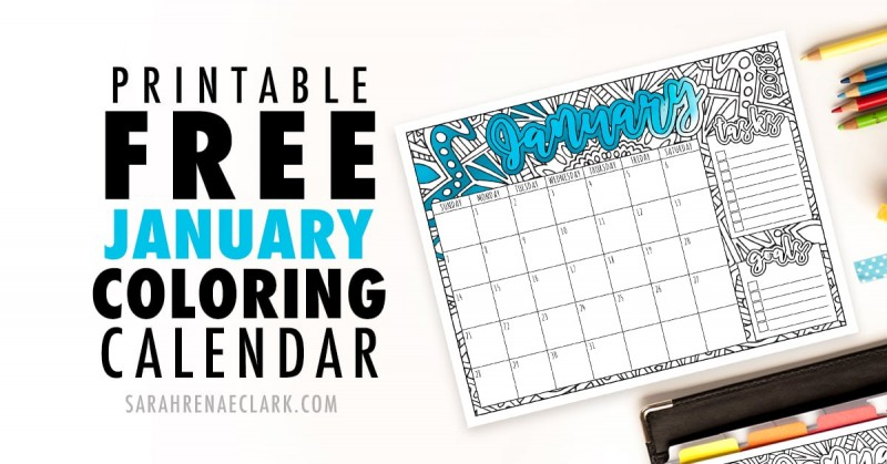 Printable Free January Coloring Calendar 2018