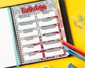 Use this printable birthday tracker to list the birthdays of your family and friends so you never forget to buy a gift. Color it in and post it on your wall or resize it to fit your favorite planner as a printable planner insert with a coloring book twist. Find more coloring pages and planner printables at www.sarahrenaeclark.com #planner #printables