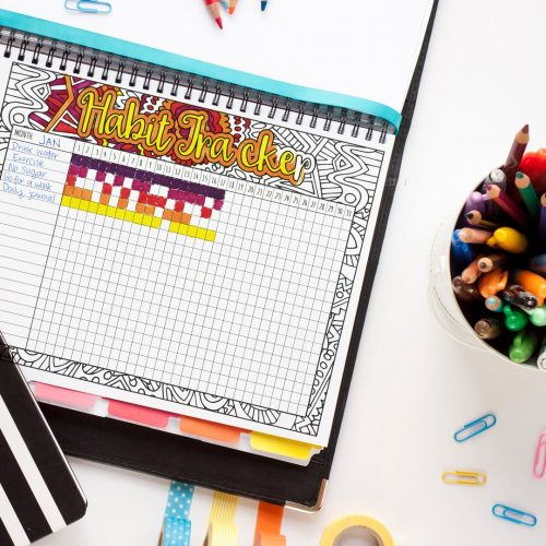 Printable habit tracker - PDF habit tracker that you can color in to track your habits or goals. Find more coloring pages and printables at www.sarahrenaeclark.com #printables #organized