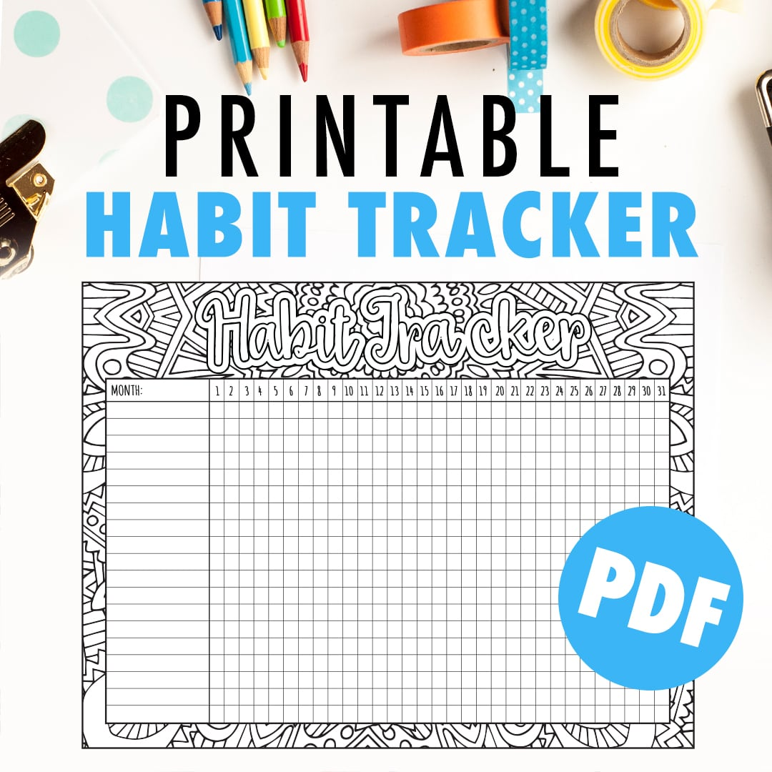Mesmerizing image regarding printable habit tracker